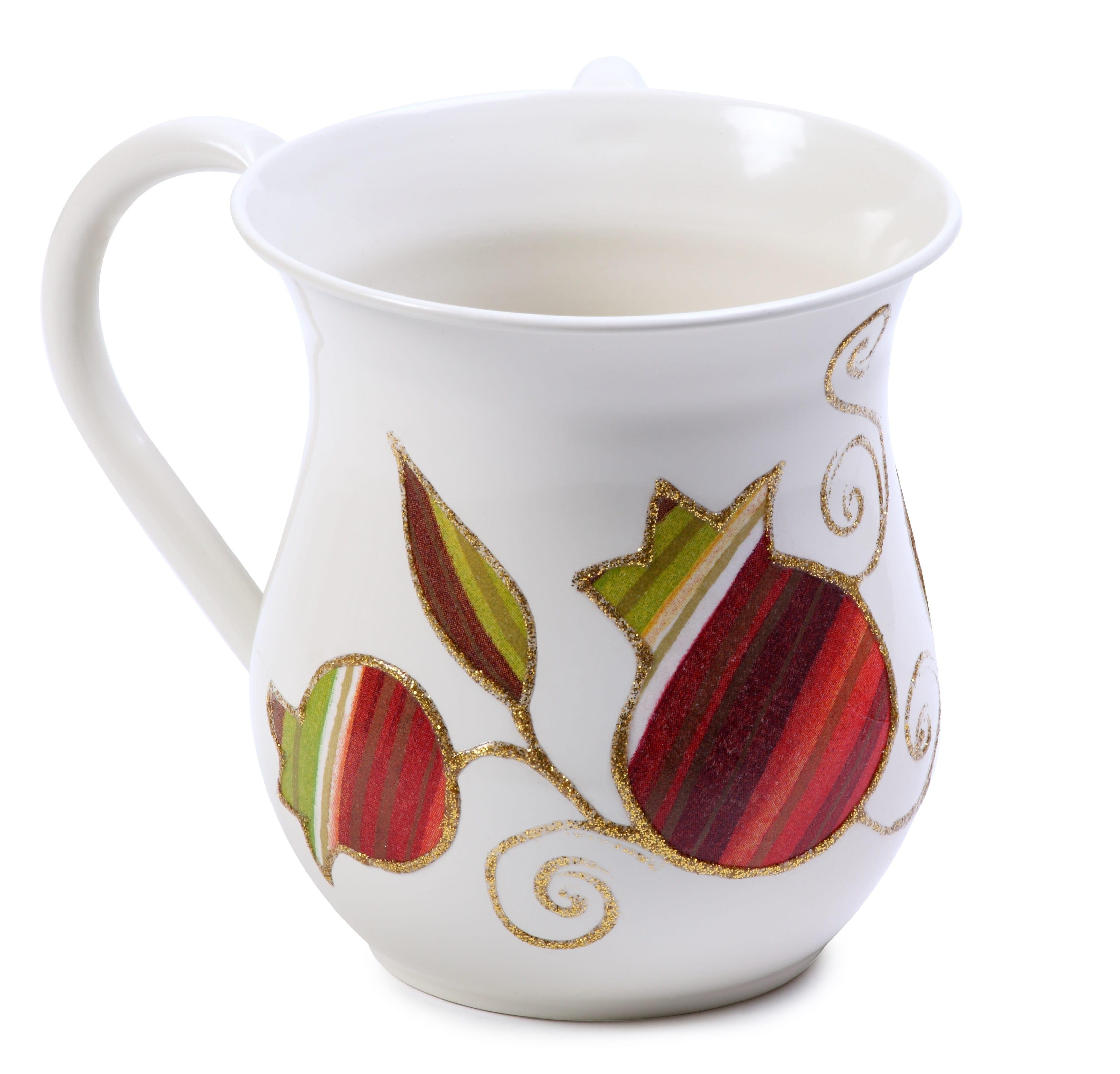 Washing Cup Netilat Yadayim Stripes Pomegranate